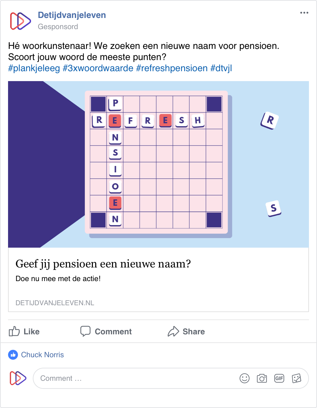Refreshpensioen socialpost scrabble
